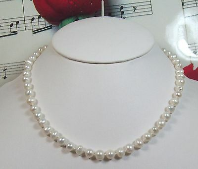 "Genuine Freshwater Cultured Pearls 6 - 6 1/2mm Necklace 16"".14k GF Clasp.FWP017"