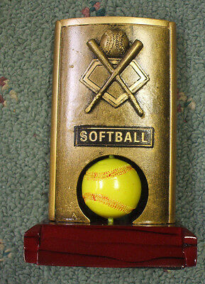 RFH7262 spin softball trophy resin Free lettered plate