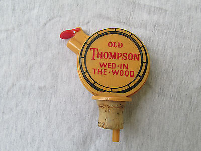 Vintage Old Thompson Wed-In-The-Wood Whiskey Pourer Stopper Cork Advertising