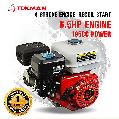 6.5HP Petrol Stationary Engine Motor 4-Stroke OHV 19mm Horizontal Shaft Replace