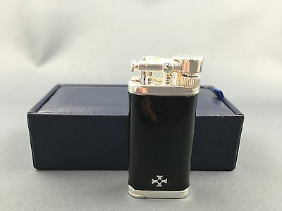 Sillem's IM Corona Sterling Silber Emaille schwarz Old Boy Pfeife pipe lighter