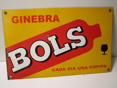 Original BOLS Ginebra Liquor Enamel Porcelain Advertising Sign - vintage  nice