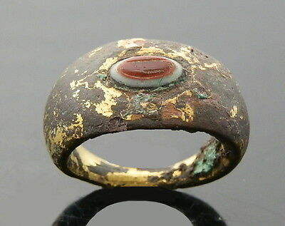 Roman Brass Gilded Ring With Agate Intaglio (J526)