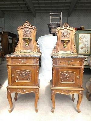 Victorian Italian Marble Top Antique Walnut Carved Night Stands  - 15It010C