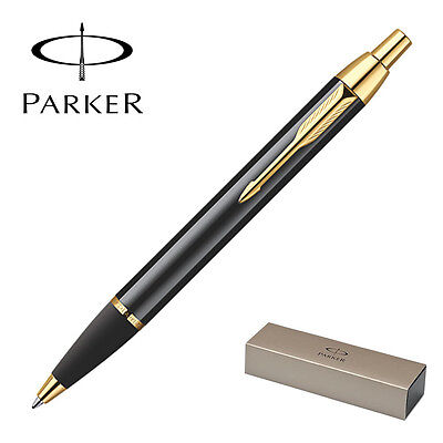 Parker IM Metal Ballpoint Pen, Black Lacquer, Gold Trim