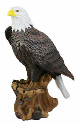 "Mighty Bald Eagle Perching on Tree Stump Freedom Statue Figurine Large 17"" Tall"