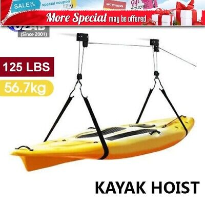 Kayak Hoist Pulley System Bike Lift Garage Ceiling Storage Rack Free Rope AU