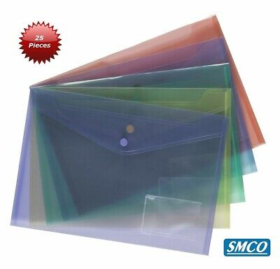 25 x A4 Quality Document Wallet Assorted Popper File Folder Plastic Stud Closing