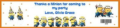 25 Minion Despicable Me Birthday Water Bottle Label Favor Personalize Waterproof