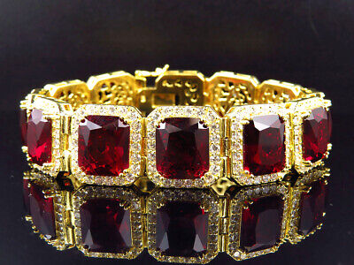 Mens Yellow Gold Finish Sterling Silver Royal Lab Simulated Red Ruby Bracelet 9""