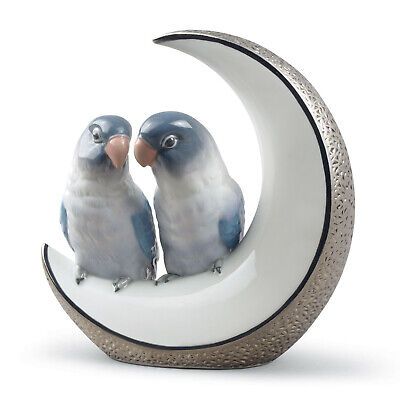 Lladro Fly Me To The Moon Silver #8789 Anniversary Lovebirds Brand Nib Save$ F/s