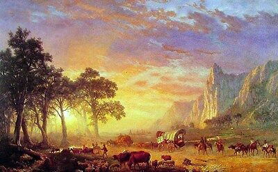 Oil Albert Bierstadt - The Oregon Trail & horses cows sheep carriage sunset 36""
