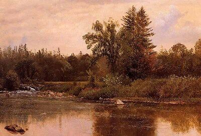 Huge Oil painting Albert Bierstadt - Landscape New Hampshire with river canvas