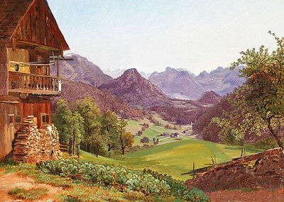 """Stunning Oil painting spring landscape with farmer's house in village canvas 36"""""""