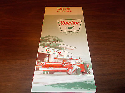 1960 Sinclair Chicago and Vicinity Vintage Road Map / 60A