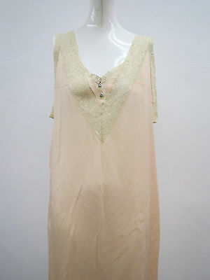Vtg 1930s Pure Silk Shell Pink Night Gown Lace Trim Ribbon Roses Good Cond