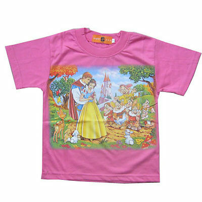 New Disney Princess Girls Short Sleeve T-SHIRT #399 For Age 4-8 Cute