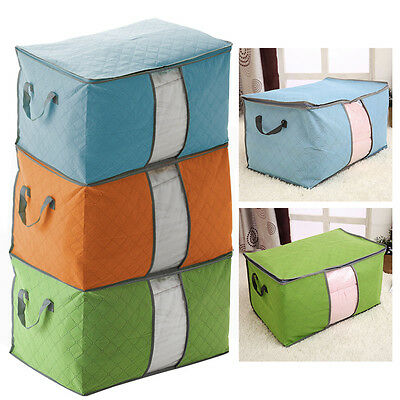 Large Clothes Quilt Bedding Duvet Chests Handles Laundry Pillows Storage Bag Box