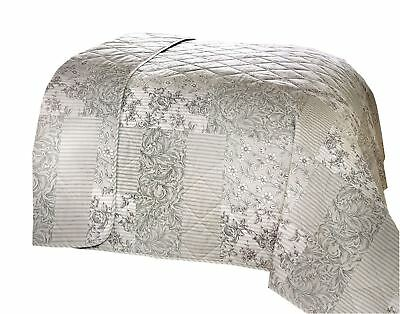 Floral Toile Patchwork Grey 230X195Cm Cotton Blend Reversible Quilted Bedspread