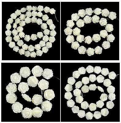 A7126 Gemstone carved shell flower loose beads,More size to select