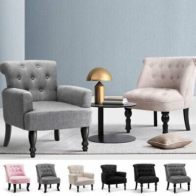 Artiss French Armchair Accent Chair Sofa Wooden Retro Wing Lounge Fabric Couch