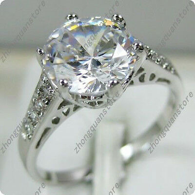 Round Cut White Sapphire Engagement Ring Men/Womens Silver Wedding Band Size6-10