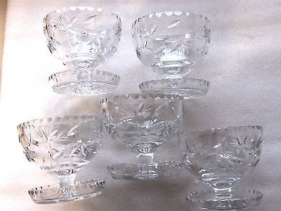 5 Crystal  Saucer Footed Sweet Entree Bowls