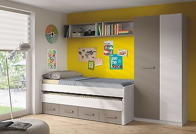 Florenza White + Grey Shades Trundle Bed + Wardrobe + Wall Shelf + Shoe Cabinet