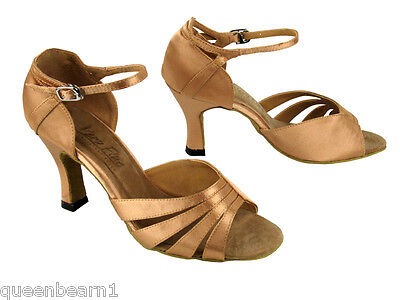 1680 Brown Satin Swing Salsa Mambo Latin Dance Shoes heel 2.5 Size 6.5 Very fine