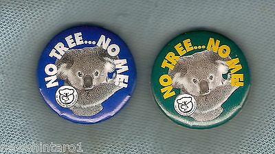 #D184.  Two Koala Bear  Tin Badges, No Tree... No Me