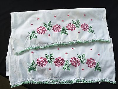Pair Of Vintage White Cotton Pillowcases With Cross Stitch Embroidery Flowers