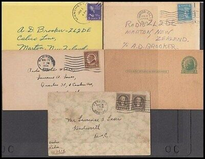 US QSL CARDS (x5) 1930's/50's (ID:261/D33844)