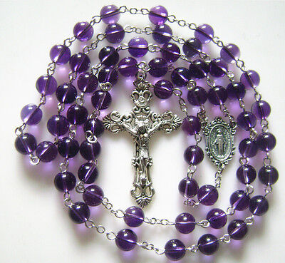 Natural 8Mm Amethyst Rosary Beads Italy Cross Crucifix Catholic Necklace Box