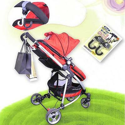 2pcs Multi Purpose Baby Kids Infant Pram Stroller Swivel Hanger Hanging Hooks Z