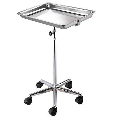 Rolling Adjustable Mayo Silver Stainless Tray Medical Equipment Salon Stand