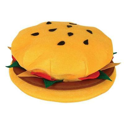 "12"" Novelty Hamburger Fast Food Hat - Themed Burger Fancy Dress Party Accessory"