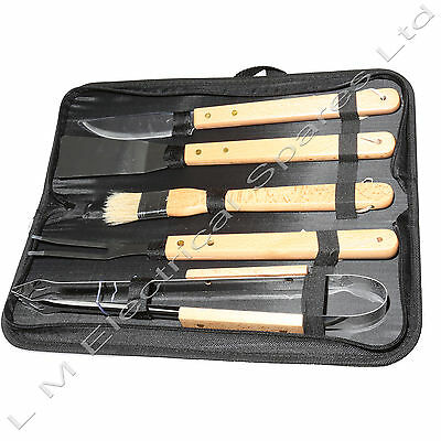 BBQ Wooden Handle Tool Kit Tongs Brush Stainless Steel Barbeque Set & Case