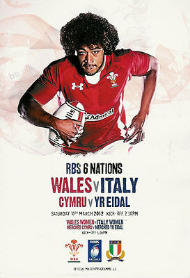 Wales v Italy Grand Slam season for Wales 10 Mar 2012 Millennium RUGBY PROGRAMME