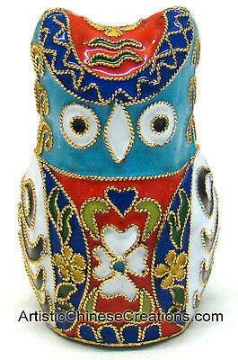 Chinese Cloisonne Crafts Hand Crafted Chinese Cloisonne Owl - Hand Made