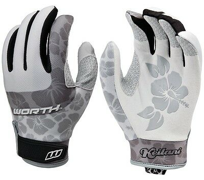 1pr Worth Keilani Storm Large Grey/White Fastpitch Experts Womens Batting Gloves