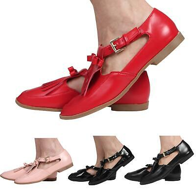 Womens Ladies Cut Out Flat Geek T-Bar Tassle Office School Pumps Shoes Size 3-8