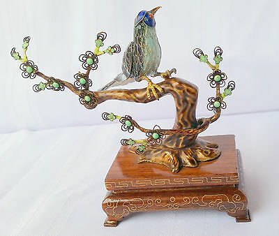 Chinese Export Sterling Silver Enamel Bird Tree Inlaid Base Rose-wood Cloisonné
