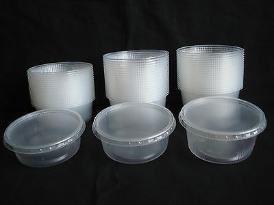 20pcs Plastic Disposable Round Containers Buckets With Lids Foodstuff 5,6,8 oz