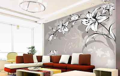 3D Art Lily Flowers Wall Paper Wall Print Decal Wall Deco Indoor wall Murals