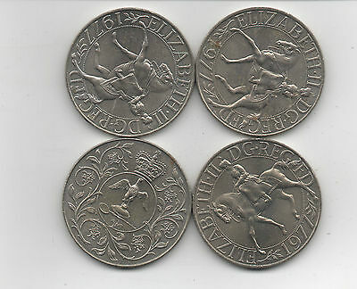 Coins. Gb 1977 Qe2 Silver Jubilee X 4 Uncirculated