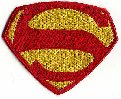 """3"""" x 4"""" Small Embroidered George Reeves Superman Logo Patch: color choice"""