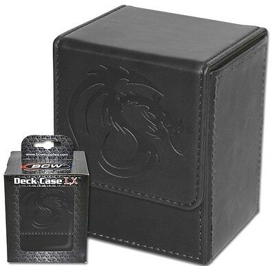 4 Black Leatherette Deck Box Cases Card Storage Magnetic Flip Ultra Protector LX