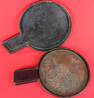 Antique Early 19th,c. Japanese Bronze Mirror in Original Lacquered  Box