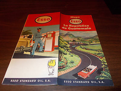 1960 Esso Guatemala Vintage Road Map / Nice Cover Art !! / Rare Map !!