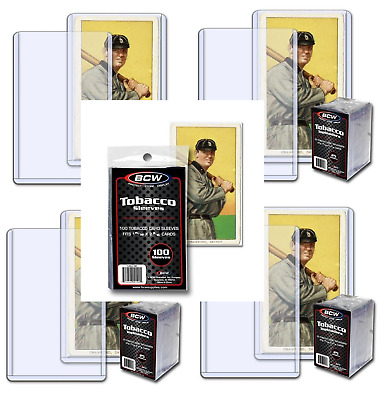 (100) BCW Mini Tobacco Size Trading Card Toploads + Sleeves Combo Lot - 100 Each